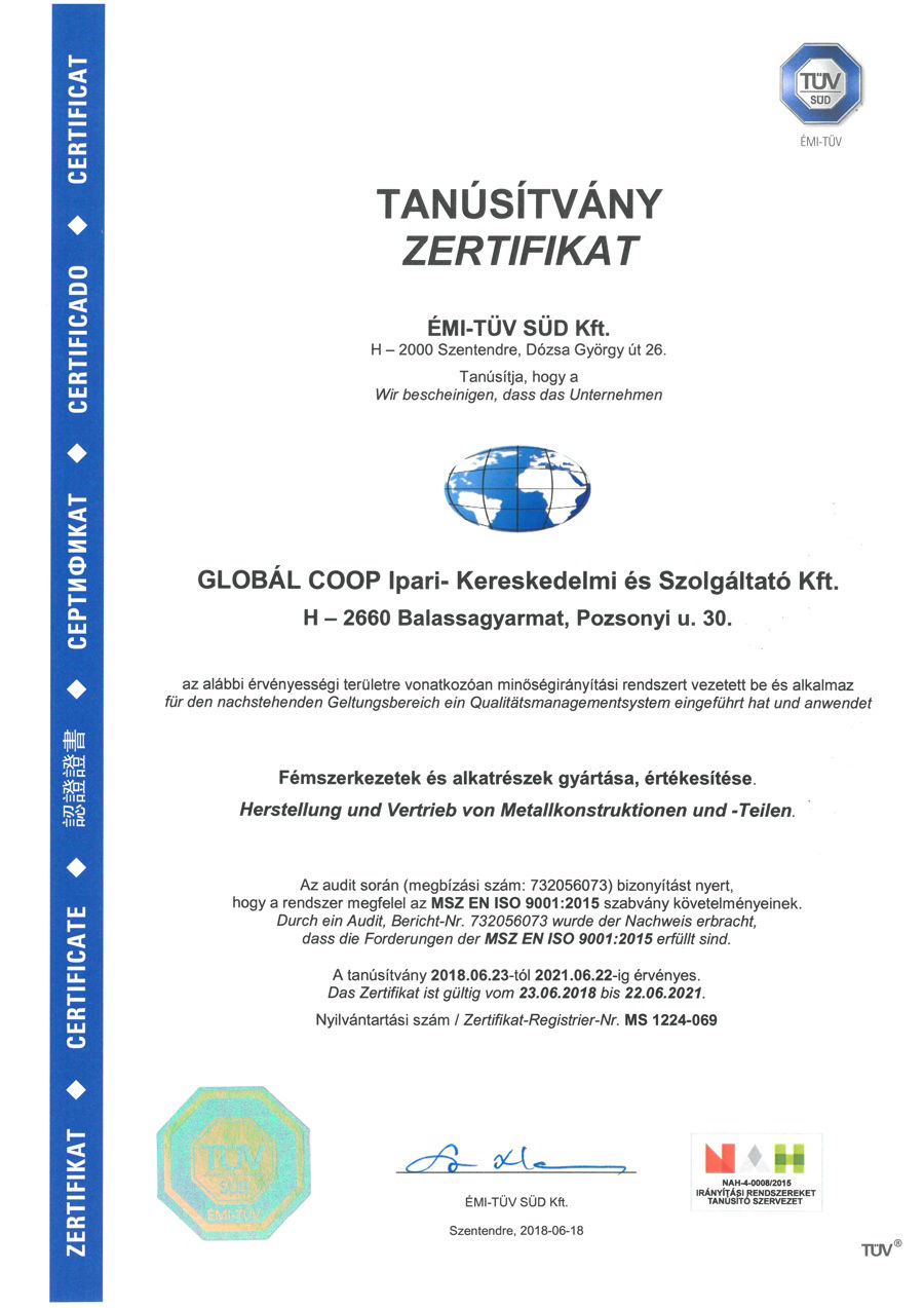 TÜV ISO 9001:2015 Quality Management